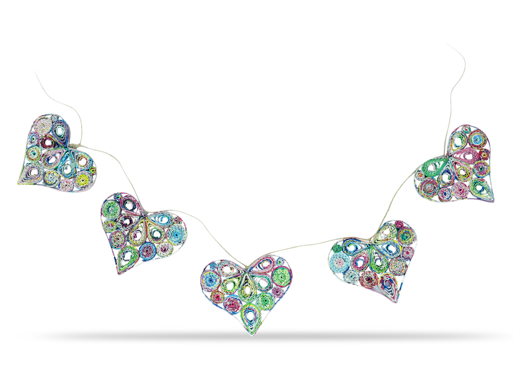 Garland of 5 Hearts in Multicolor