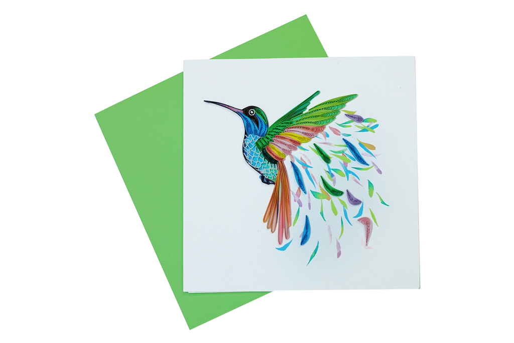 Colorful Hummingbird Quilled Greeting Card