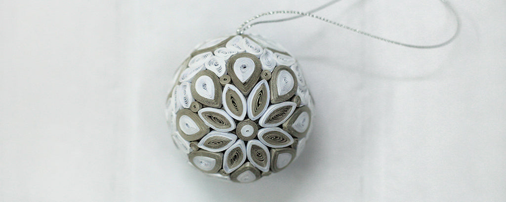 White and Gray Quilling Christmas Ball