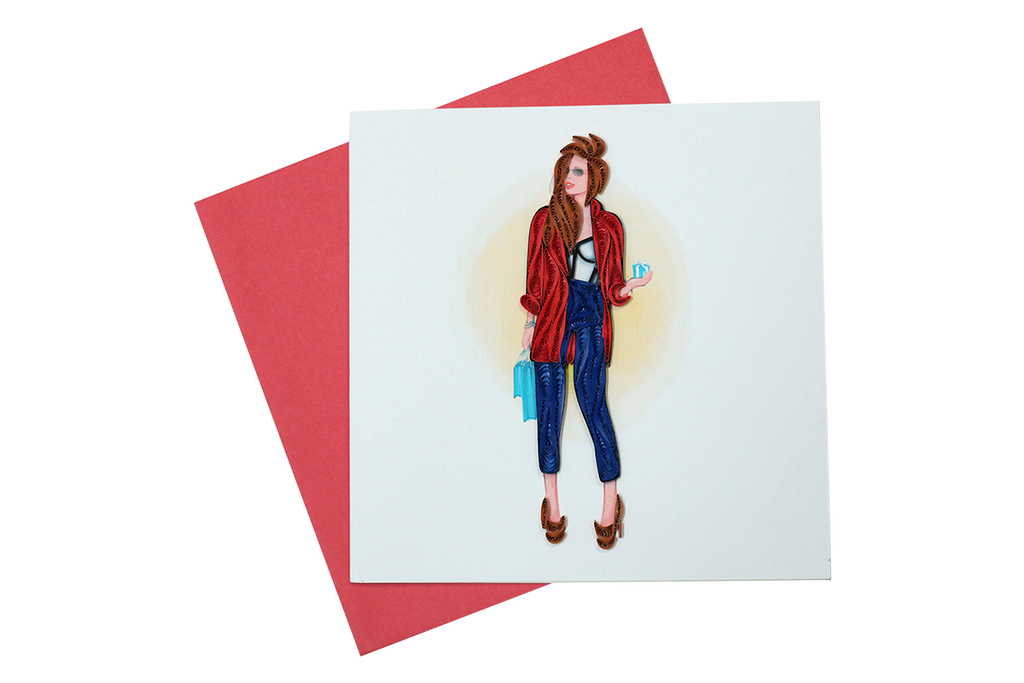 Lady in Red Jacket Greeting Card