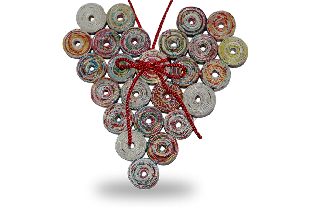 Recycle coiled HEART paper ornament