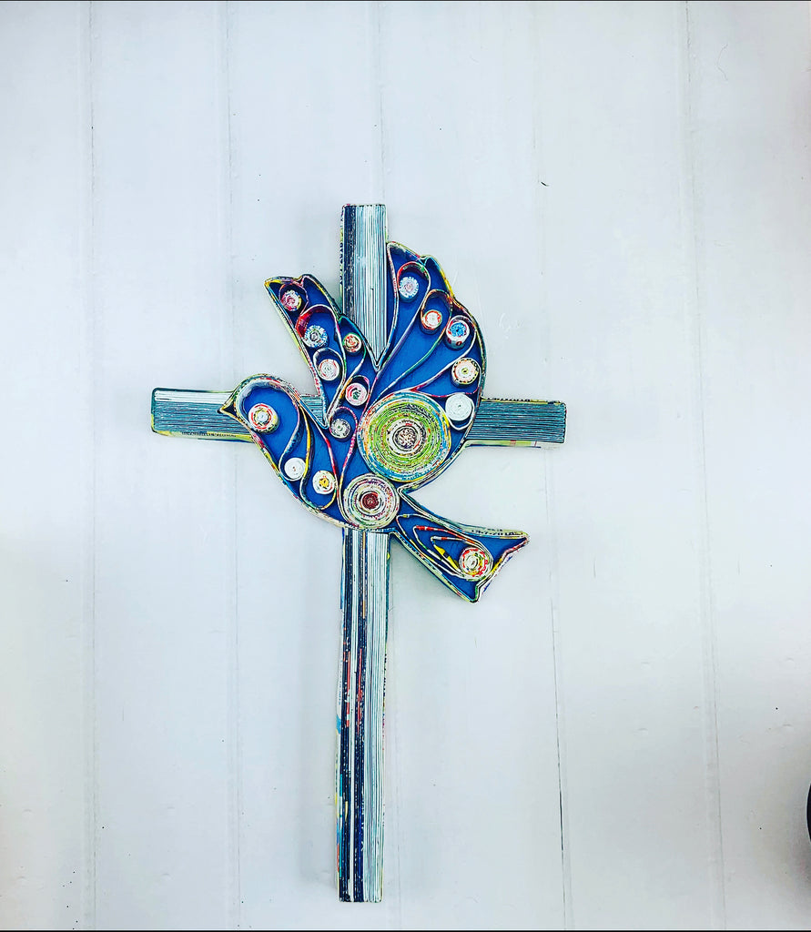 Wall hanging recycle paper Cross with Dove (W18 H29cm)