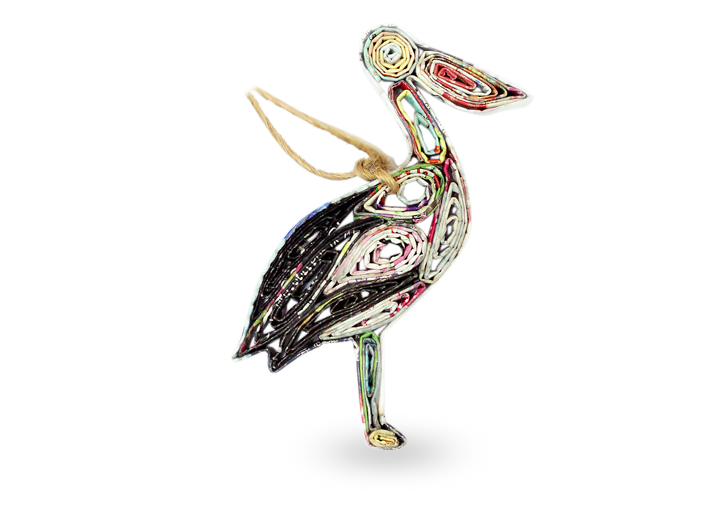 Recycled Paper Pelican Ornament
