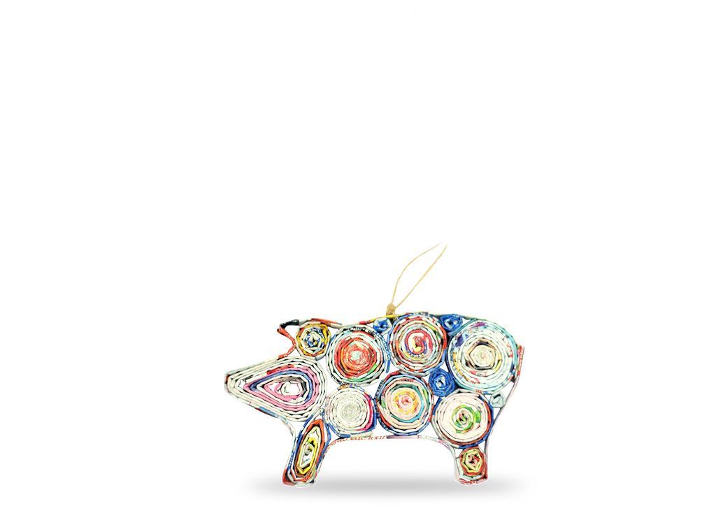 Recycled Paper Pig Ornament