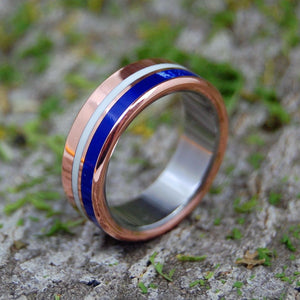 CHERISH ME | Copper, Sodalite & White Marble Titanium Wedding Rings - Minter and Richter Designs