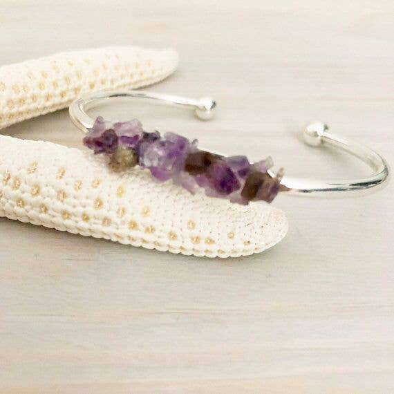 Raw Stone Bracelet - Wedding Jewelry | RAW AMETHYST BRACELET