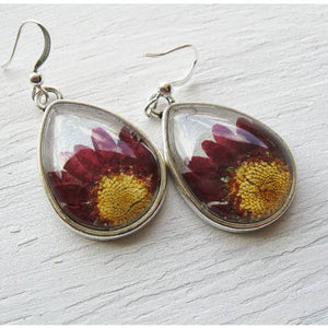 SILVER TEARDROP PINK DAISY EARRINGS | Bridal Jewelry Earrings - Minter and Richter Designs