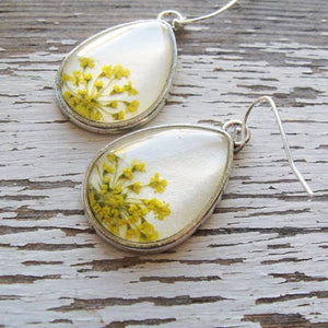 SILVER TEARDROP QUEEN ANNE'S LACE EARRINGS | Bridal Jewelry Earrings - Minter and Richter Designs