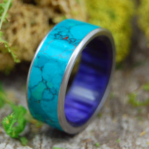 L'AURORE | Chrysocolla & Purple Resin Titanium Wedding Ring - Minter and Richter Designs