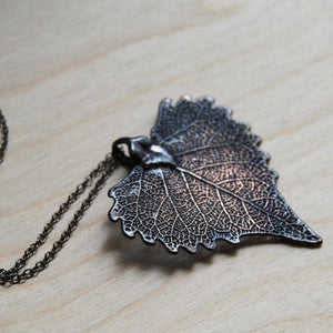 ANTIQUED FALLEN COTTONWOOD LEAF NECKLACE | Bridal jewelry - Necklace - Minter and Richter Designs