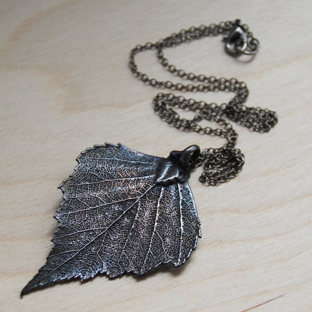 ANTIQUED FALLEN BIRCH LEAF NECKLACE | Bridal jewelry - Necklace - Minter and Richter Designs