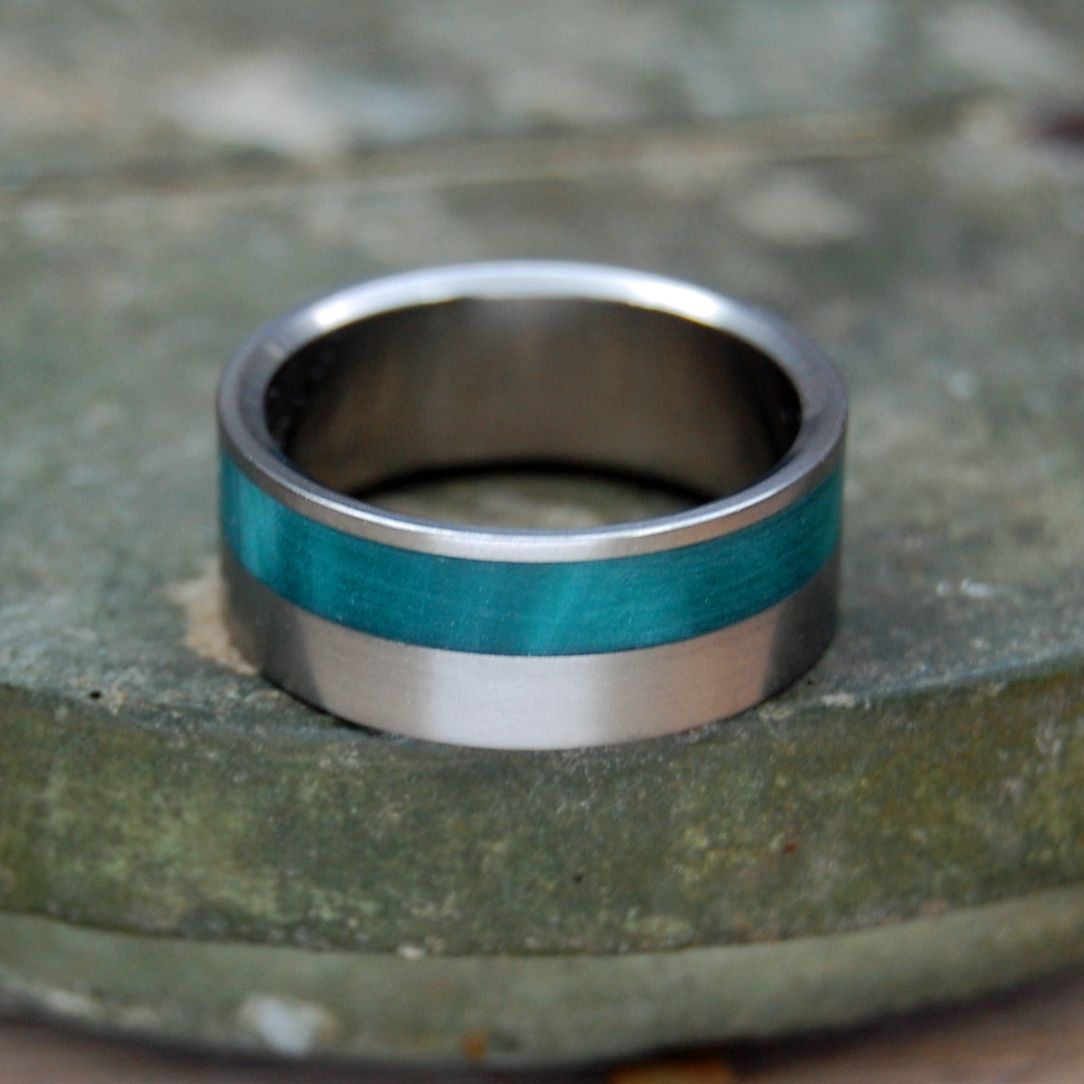FLORA | Green Marbled Resin Titanium Wedding Ring - Minter and Richter Designs