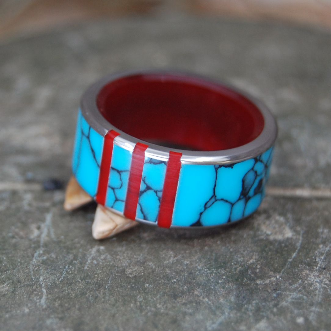 GUARDIAN OF THE TRINITY | Turquoise & Red Resin Titanium Wedding Ring - Minter and Richter Designs