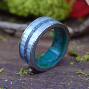 DIVE IN | Gray Marbled Resin, Beach Sand, & Egyptian Jade Titanium Wedding Ring - Minter and Richter Designs