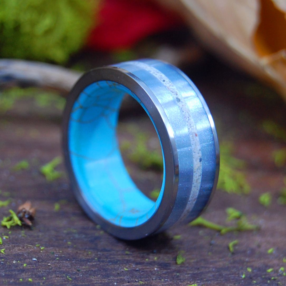 HOLD ME CLOSER | Gray Marbled Resin, Beach Sand, & Tibetan Turquoise Titanium Wedding Ring - Minter and Richter Designs