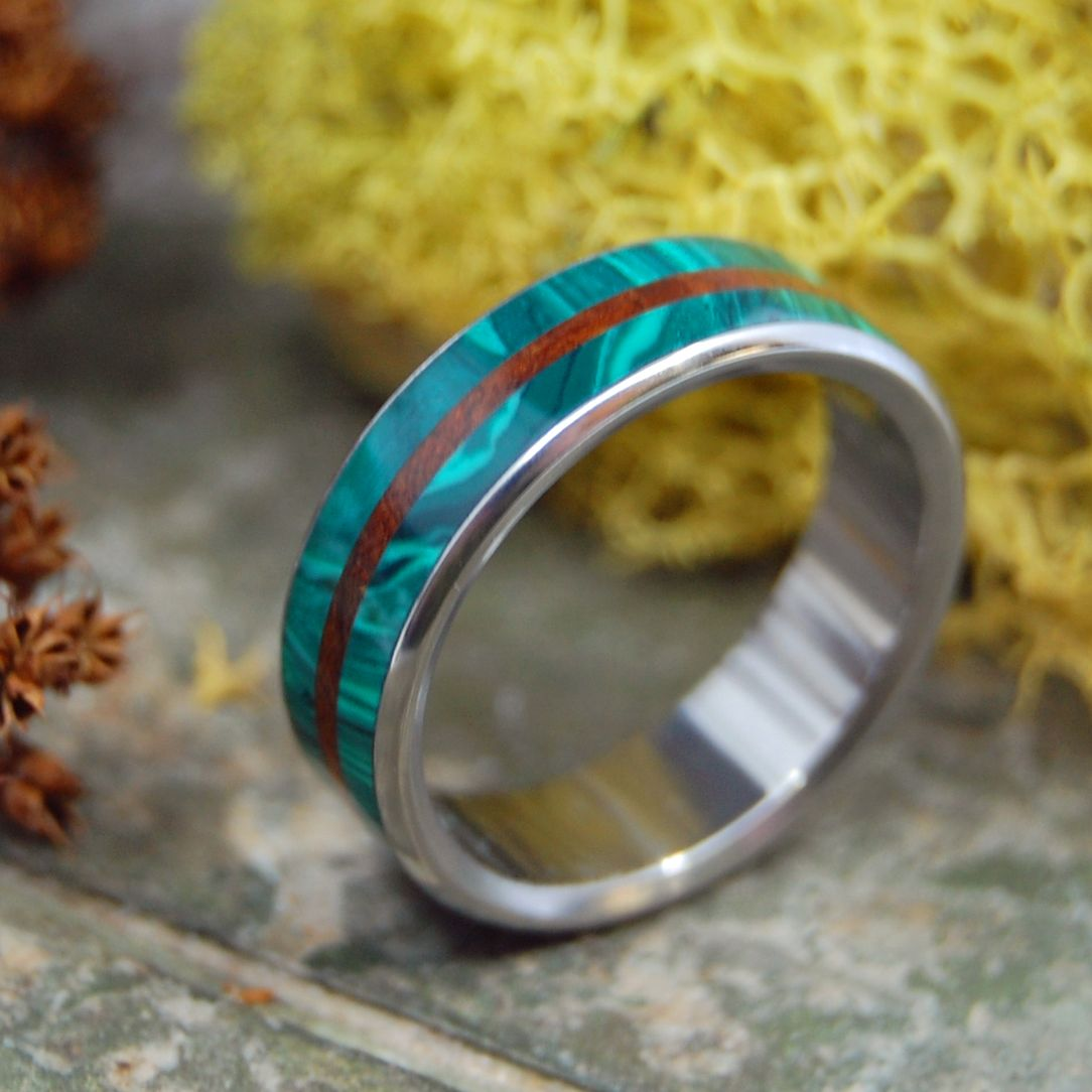 Copy of QUEEN OF HEARTS | Green Malachite, Black Box Elder Wood & Red Jasper Stone Titanium Wedding Ring - Minter and Richter Designs
