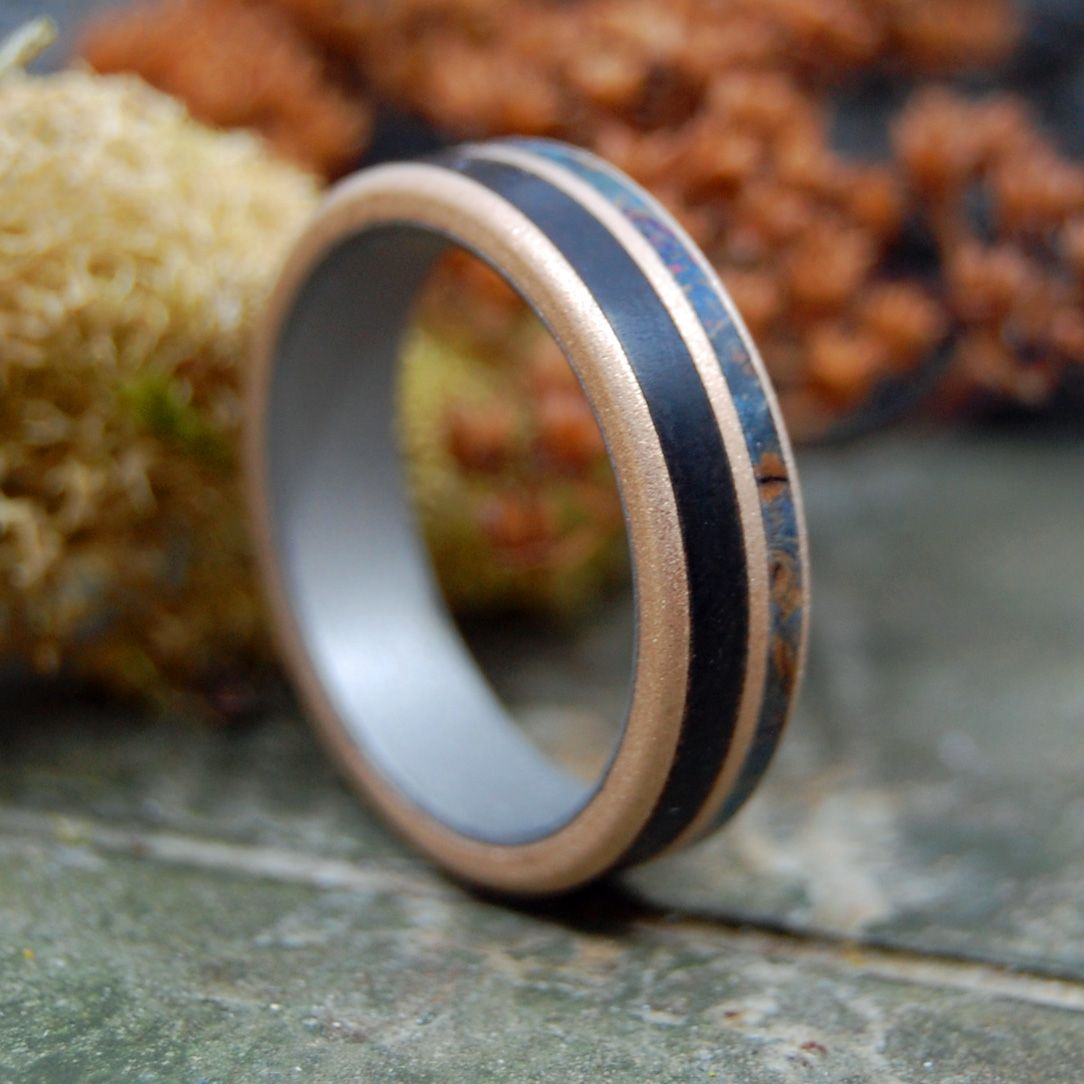 TIMBER IN LOVE | Blue Maple & African Ebony Titanium Wedding Rings - Minter and Richter Designs