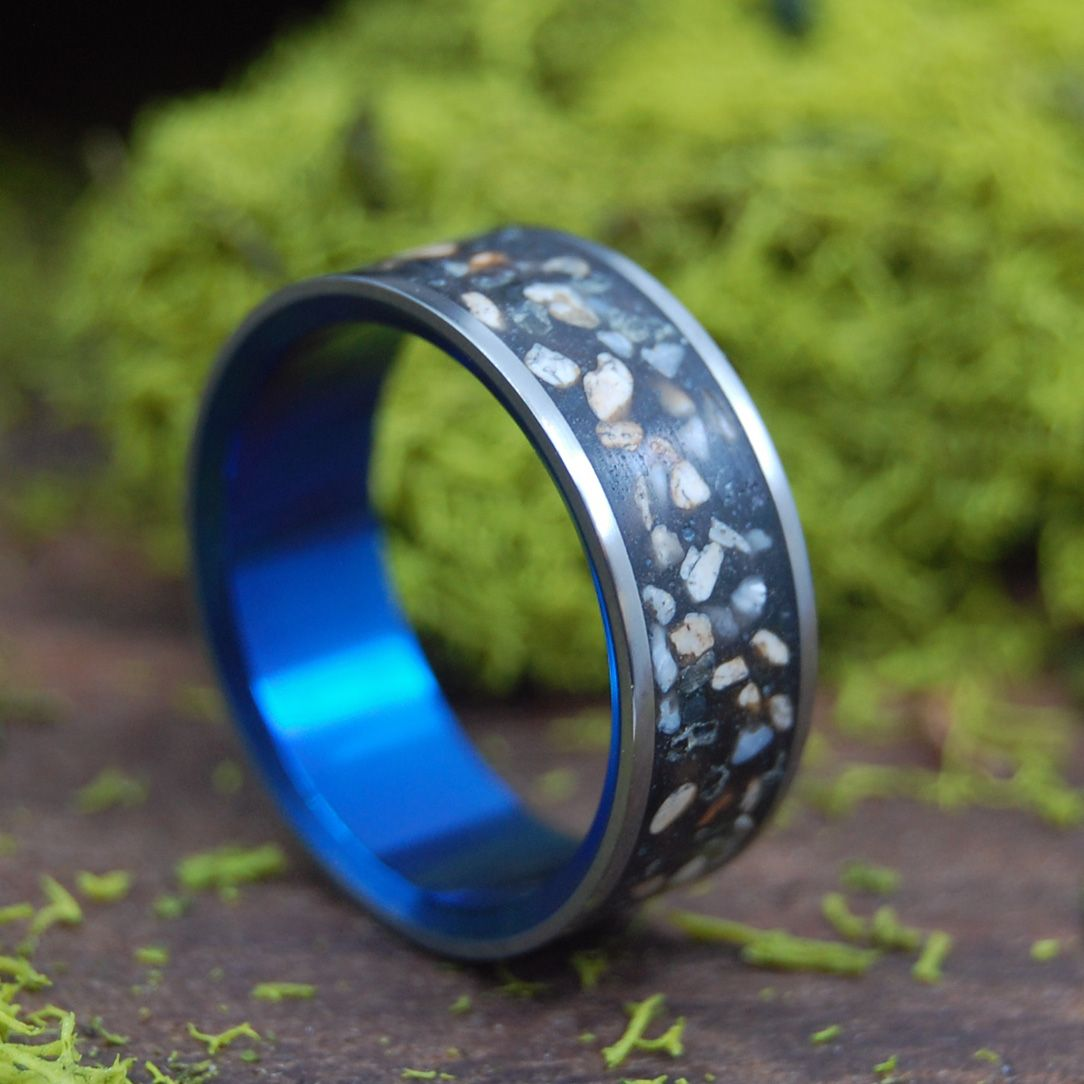 BOCCE | Beach Sand Titanium Wedding Rings - Minter and Richter Designs