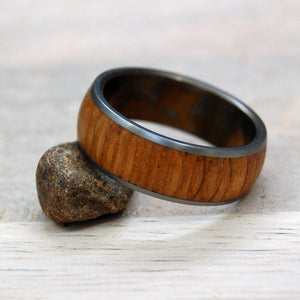 BRONZED BULLY BOY TO THE DOME | Whiskey Barrel Wood Titanium Wedding Rings - Minter and Richter Designs