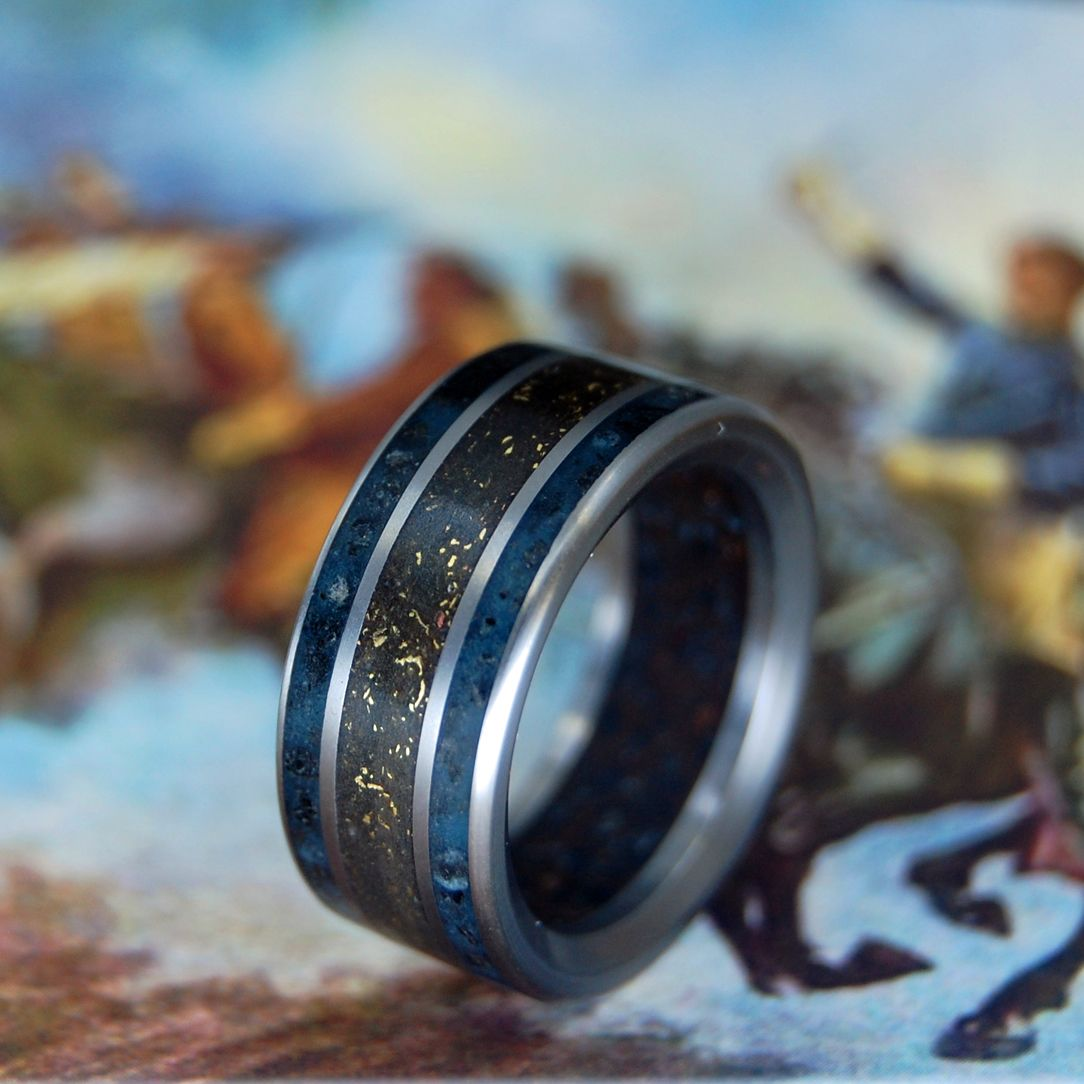 BATTLE CRY | Battleground Earth & Bullet Fragments Titanium Wedding Ring - Minter and Richter Designs