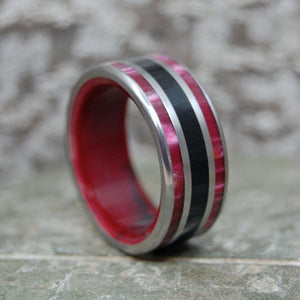 KNOCKOUT | Onyx, Red Jasper & Red Marble Resin Titanium Wedding Ring - Minter and Richter Designs