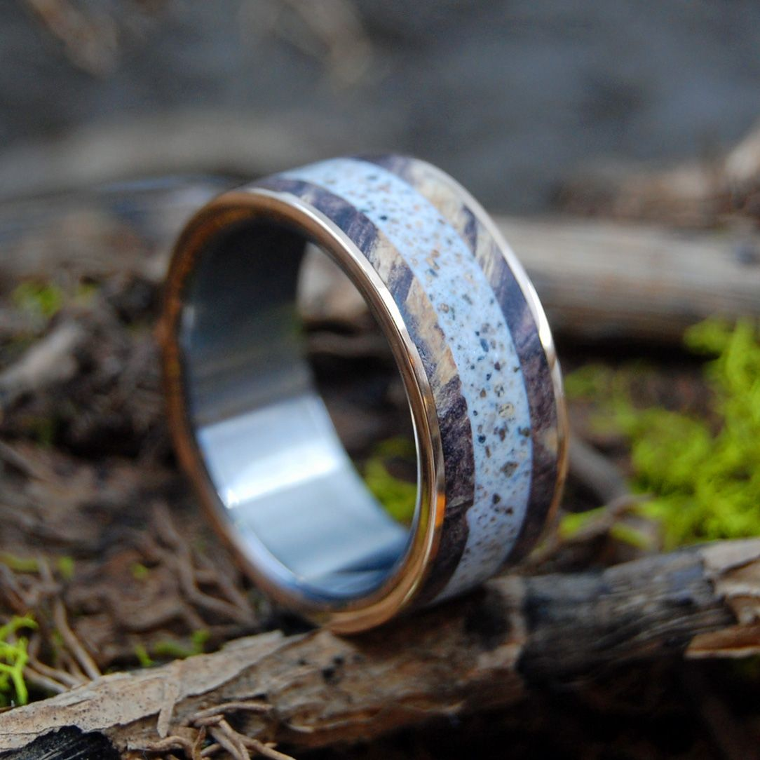 MARRY ME IN P-TOWN | Provincetown Beach Sand, Bronze, & Maple Wood Titanium Wedding Ring - Minter and Richter Designs