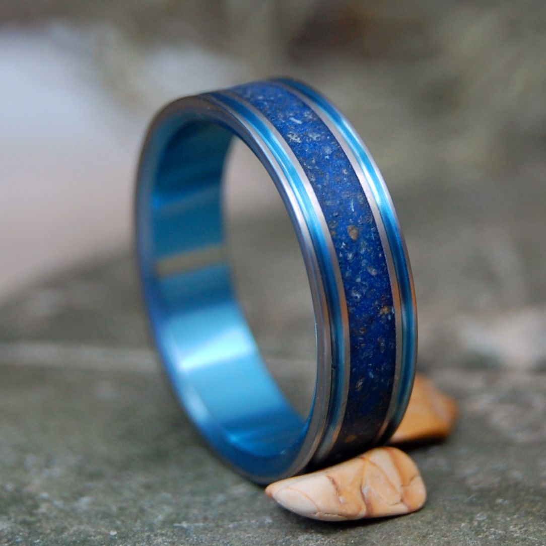 MARRY ME IN P-TOWN | Blue Provincetown Beach Sand Titanium Wedding Ring - Minter and Richter Designs