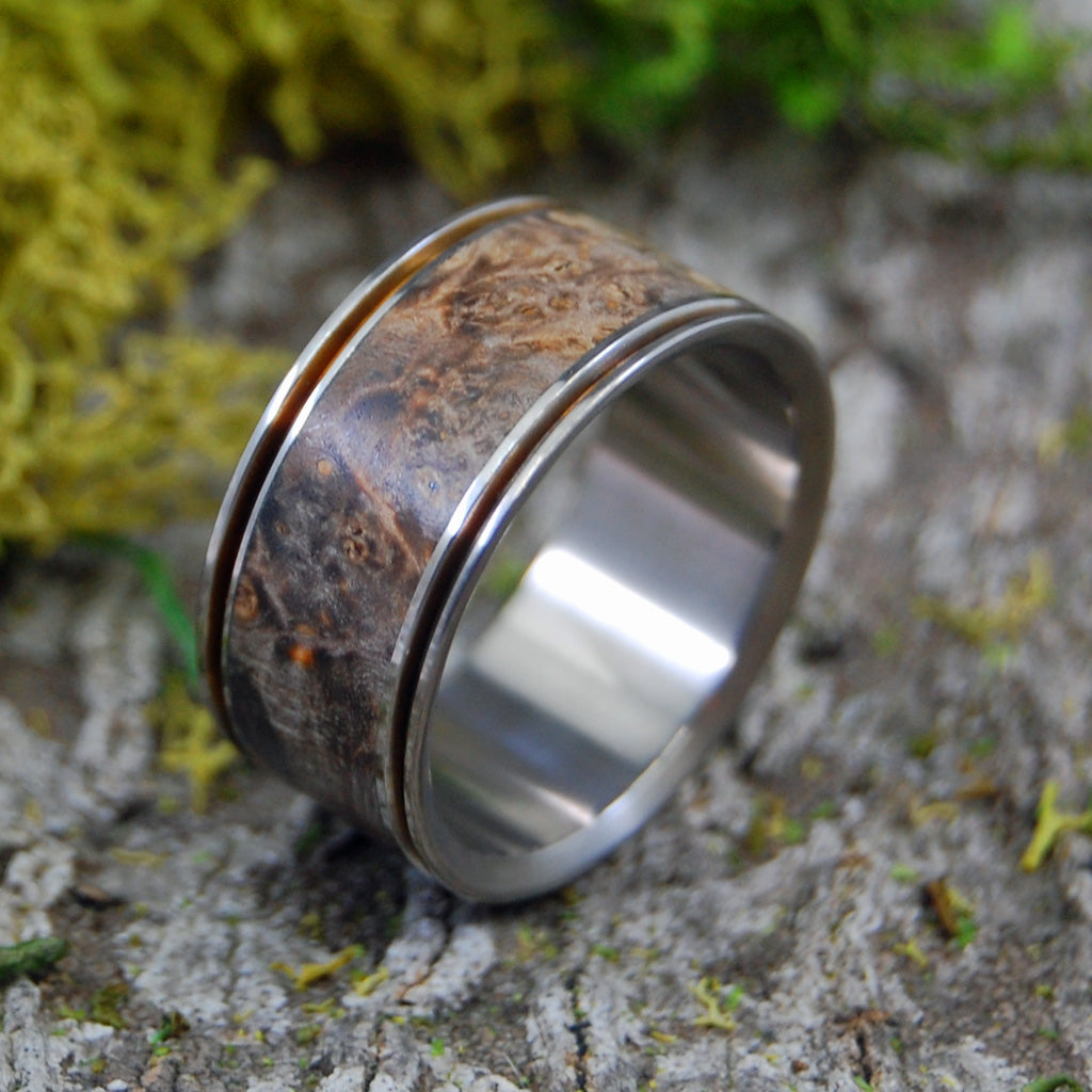 Alchemist | SIZE 12 AT 11MM | Golden Box Elder Wood | Titanium Wedding Rings | On Sale - Minter and Richter Designs
