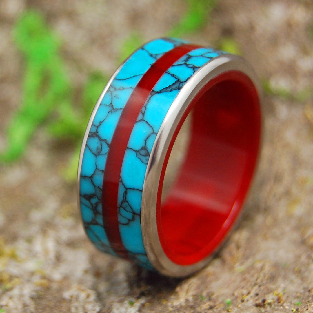 ARCTIC FIRE'S DESIRE | Turquoise & Red Resin Titanium Custom Men's Wedding Rings - Minter and Richter Designs