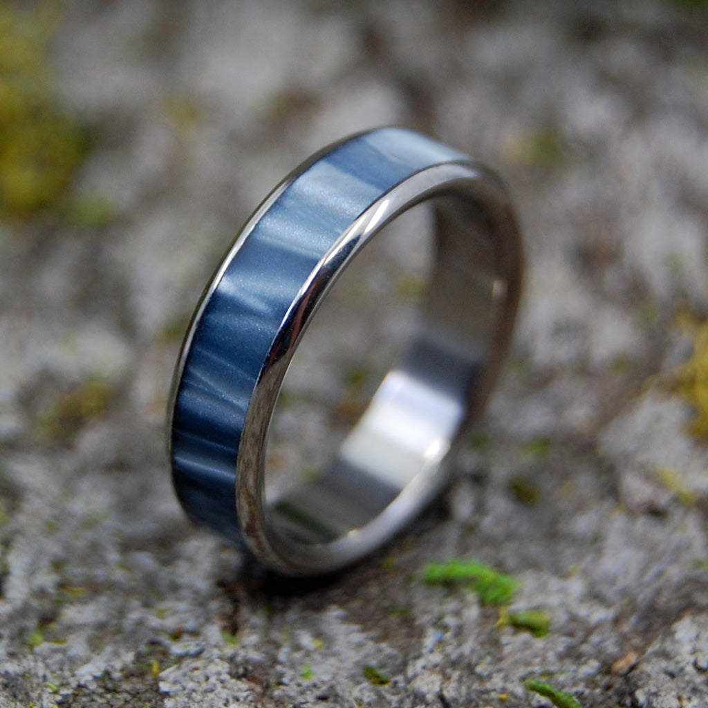 Astaire | SIZE 6 AT 5.2MM | Gray Pearl Marbled Opalscent | Unique Mens Wedding Bands | On Sale - Minter and Richter Designs
