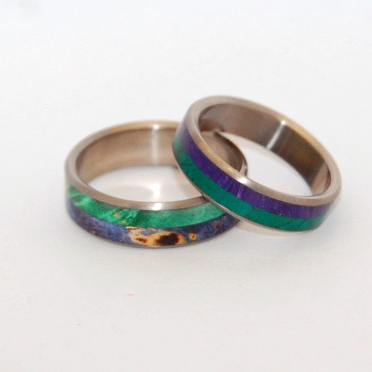 A DEEP & EARTHLY LOVE / FOR US ALONE TO ENJOY | Titanium & Wood Wedding Ring Set - Minter and Richter Designs
