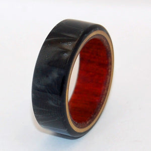 A LOVE YOU CAN LEAN ON | Black Resin & Wood Titanium Wedding Ring - Minter and Richter Designs