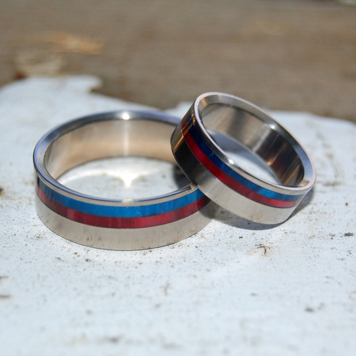Act of Freedom | Blue and Red Wedding Ring Set
