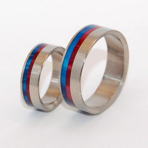 ACT OF FREEDOM | Blue & Red Resin Wedding Ring Set - Minter and Richter Designs