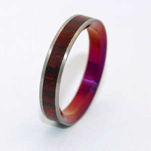 AFTER LIFE'S KISS | Cocobolo Wood & Titanium Wedding Rings - Minter and Richter Designs