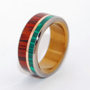 ALPHA BRONZE HORSEMAN | Malachite Stone, Bronze & Cocobolo Wood Titanium Wedding Rings - Minter and Richter Designs