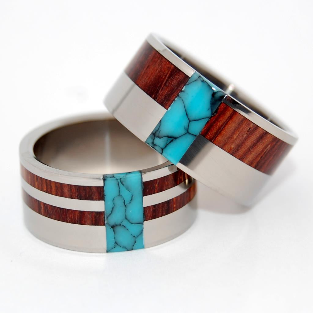 SOUL MATES | Turquoise, Cocobolo Wood & Titanium - Unique Wedding Rings - Wedding Rings Set - Minter and Richter Designs