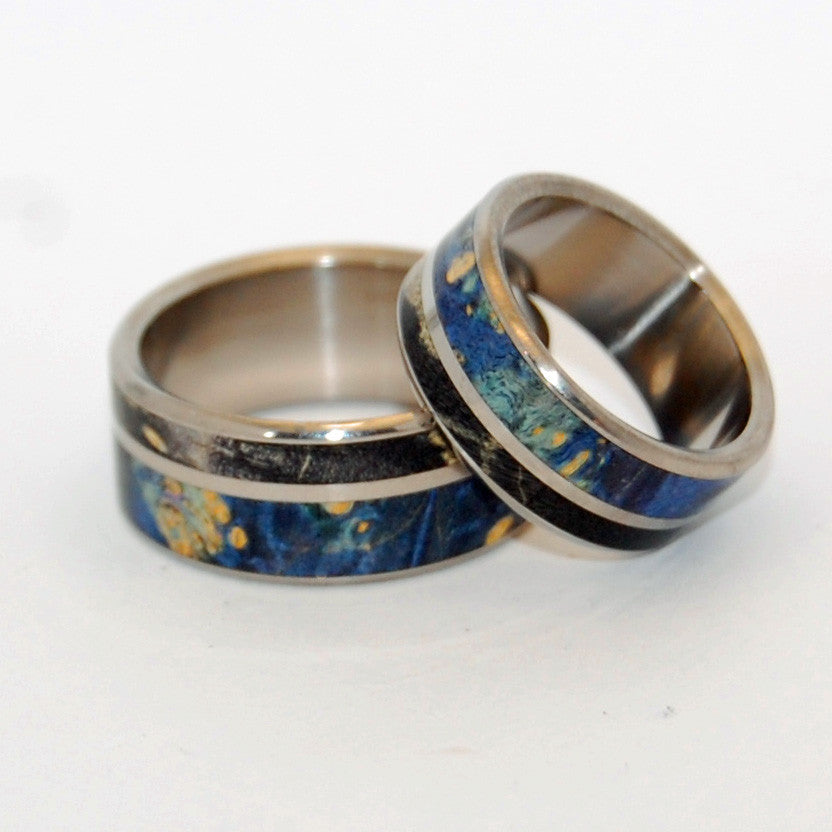 Always Within Your Reach | Matching Wooden Titanium Wedding Ring Set
