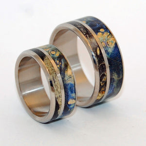 ALWAYS WITHIN YOUR REACH | Titanium & Blue Wood Wedding Rings Set - Minter and Richter Designs