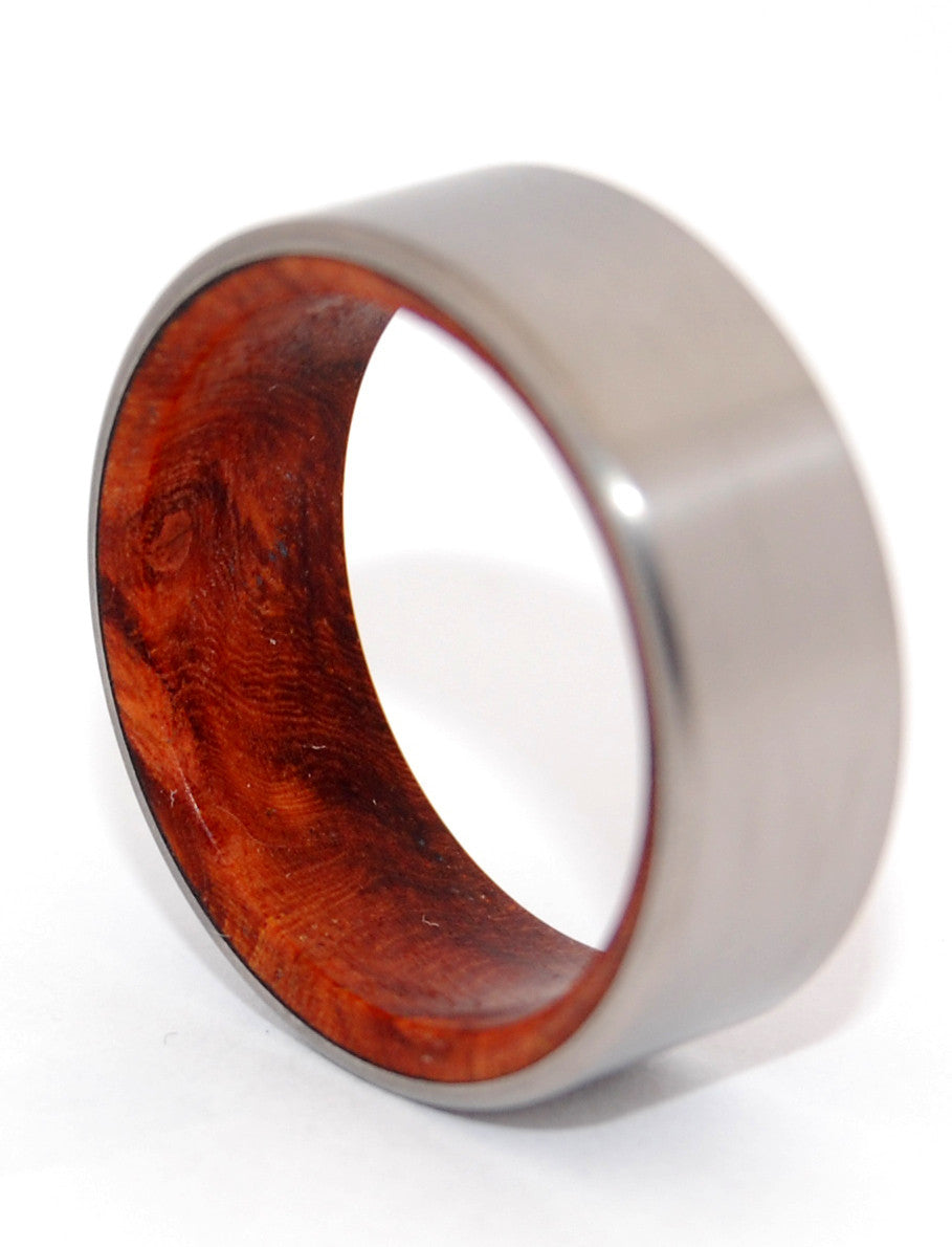 SANCTUM | Amboyna Burl Wood & Titanium - Wooden Wedding Rings - Minter and Richter Designs