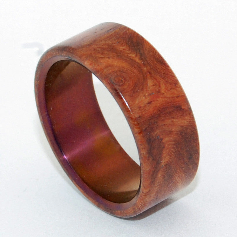 COMMUNION | Amboyna Wood & Titanium - Unique Wedding Rings - Minter and Richter Designs