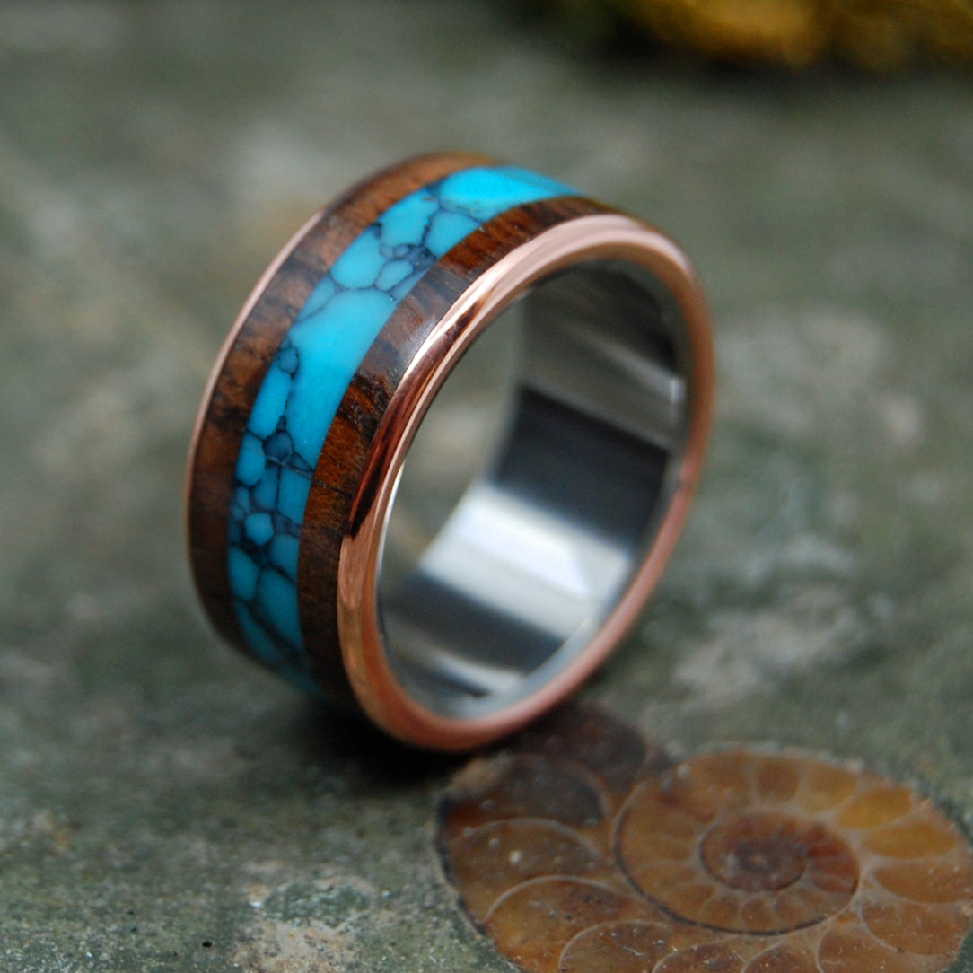 AMERICAN EXPLORER |  Turquoise & Redwood Copper Wedding Rings - Unique Wedding Rings