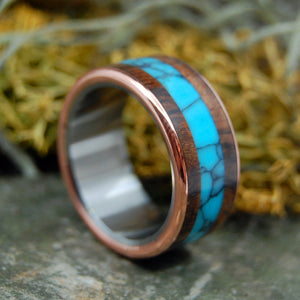 AMERICAN EXPLORER |  Turquoise & Redwood Copper Wedding Rings - Unique Wedding Rings - Minter and Richter Designs