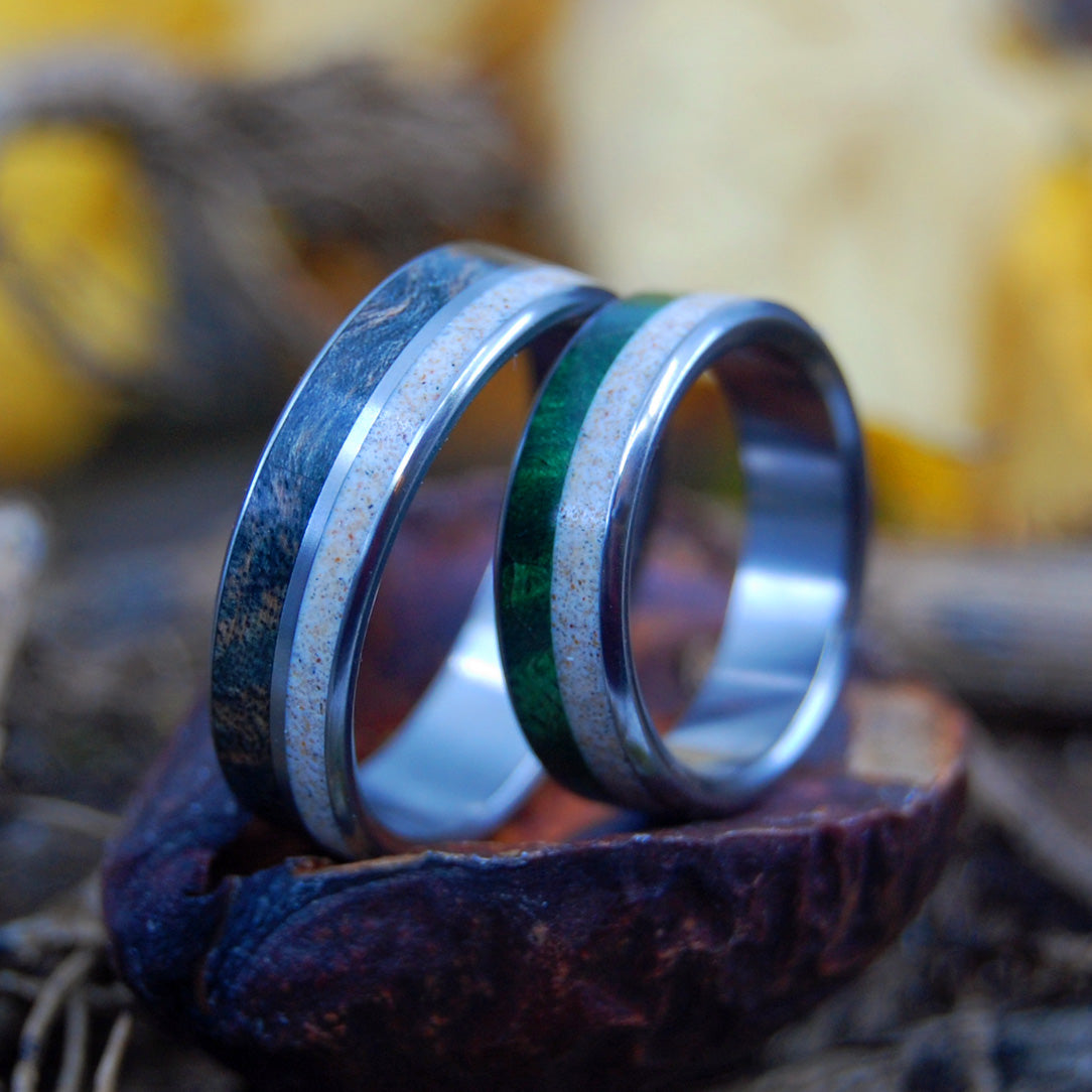 WOOD & SAND | Beach Sand Rings - Wooden Wedding Ring - Unique Wedding Rings - Minter and Richter Designs