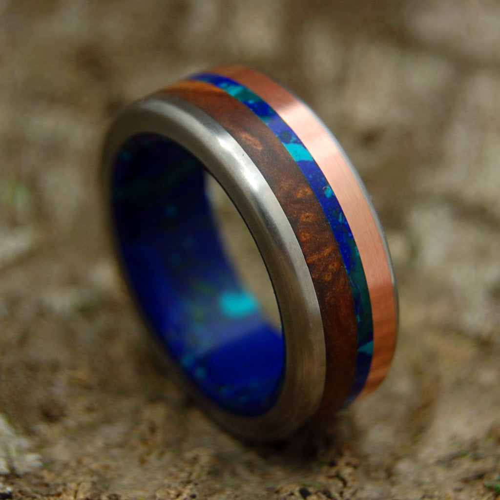 ARCTIC VIKING | Titanium & Copper & Azurite Stone Wedding Rings - Minter and Richter Designs