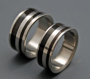 STRONG & SVELTE | Water Buffalo Horn Titanium Wedding Rings Set - Minter and Richter Designs