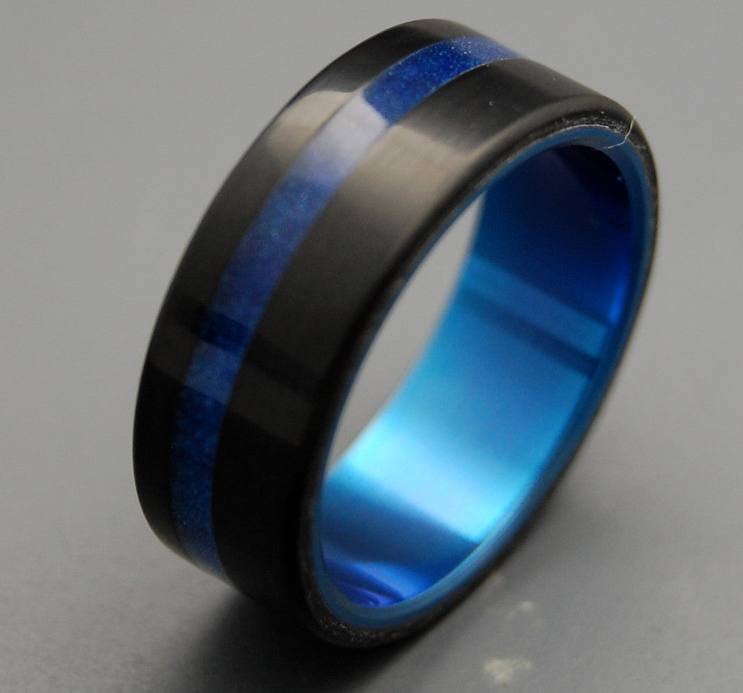 REPLICANT | Blade Runner 2049 Series | Black & Blue Resin Men's Titanium Black Wedding Rings - Minter and Richter Designs