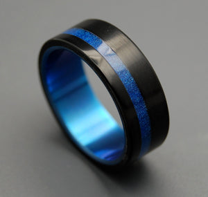 TRON | Black & Blue Resin Men's Titanium Black Wedding Rings - Minter and Richter Designs
