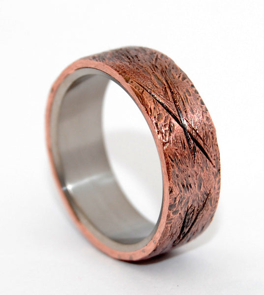 Unique Wedding Rings - Beaten Copper