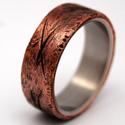 BEATEN COPPER | Hand Beaten Copper - Titanium Men's Rings - Minter and Richter Designs